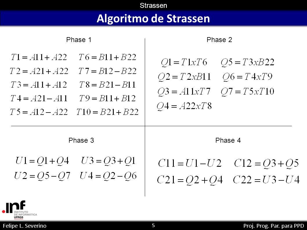 5 Strassen Felipe L. SeverinoProj. Prog. Par. para PPD Algoritmo de Strassen Phase 1Phase 2 Phase 3Phase 4