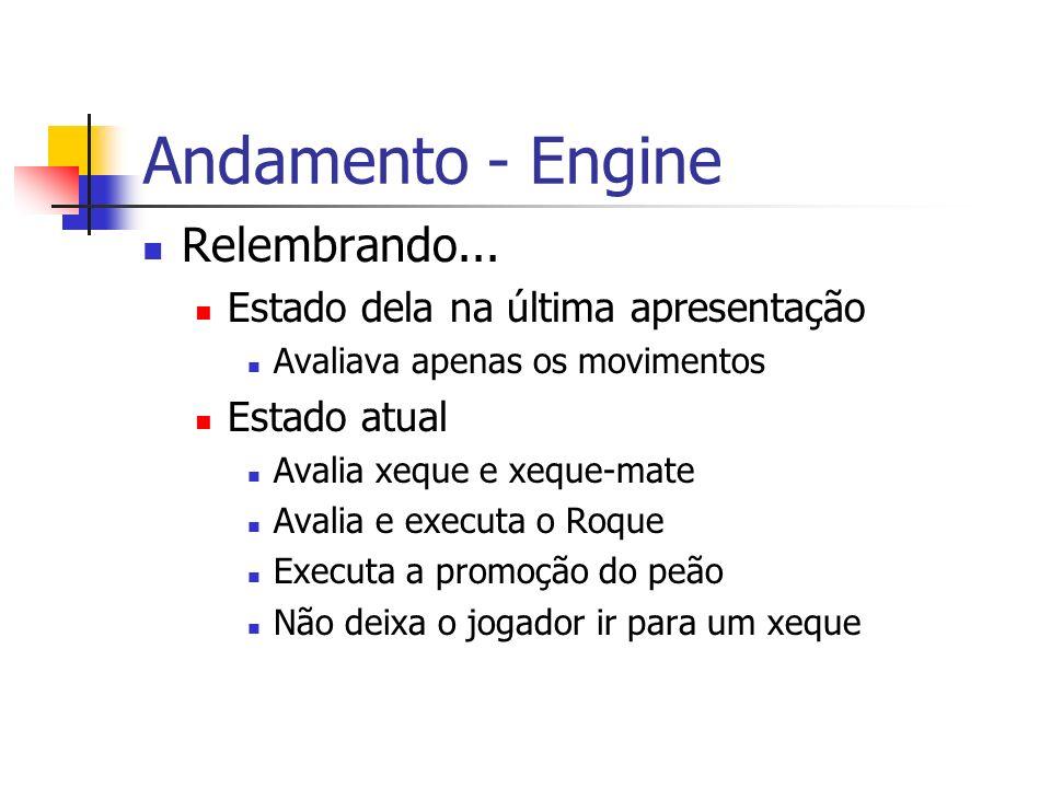 Andamento - Engine Relembrando... Estado dela na última apresentação Avaliava apenas os movimentos Estado atual Avalia xeque e xeque-mate Avalia e exe