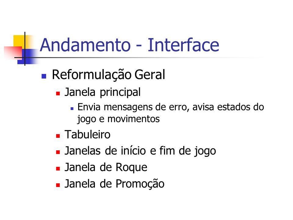 Andamento - Interface Reformulação Geral Janela principal Envia mensagens de erro, avisa estados do jogo e movimentos Tabuleiro Janelas de início e fim de jogo Janela de Roque Janela de Promoção