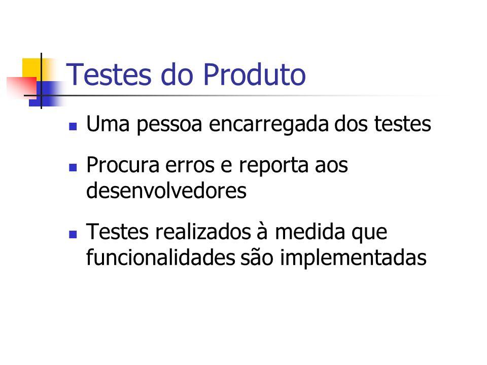 Testes do Produto Uma pessoa encarregada dos testes Procura erros e reporta aos desenvolvedores Testes realizados à medida que funcionalidades são implementadas