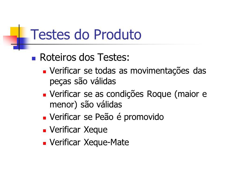 Testes do Produto Roteiros dos Testes: Verificar se todas as movimentações das peças são válidas Verificar se as condições Roque (maior e menor) são válidas Verificar se Peão é promovido Verificar Xeque Verificar Xeque-Mate