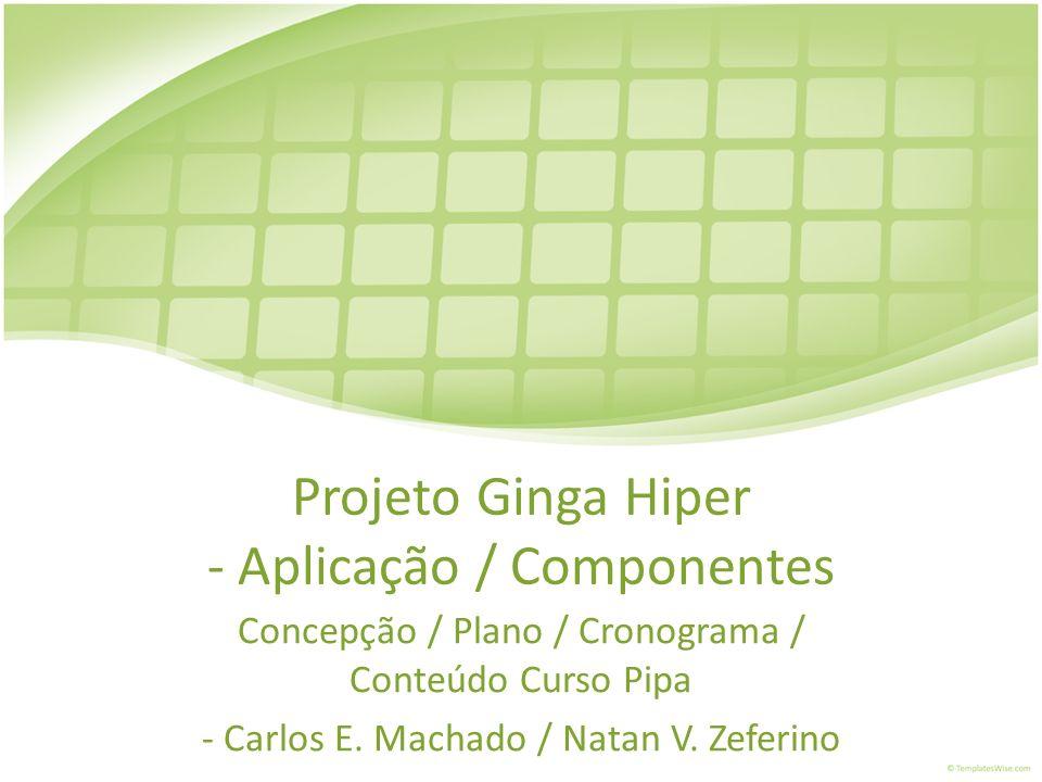 Projeto Ginga Hiper - Aplicação / Componentes Concepção / Plano / Cronograma / Conteúdo Curso Pipa - Carlos E. Machado / Natan V. Zeferino