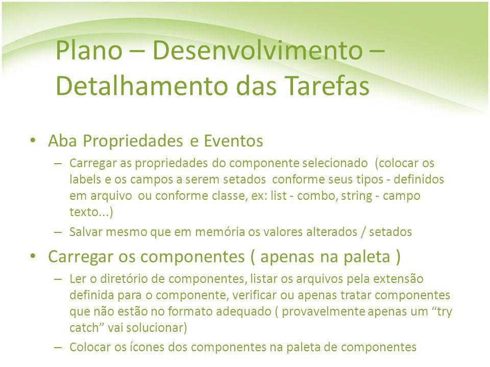 Plano – Desenvolvimento – Detalhamento das Tarefas Aba Propriedades e Eventos – Carregar as propriedades do componente selecionado (colocar os labels