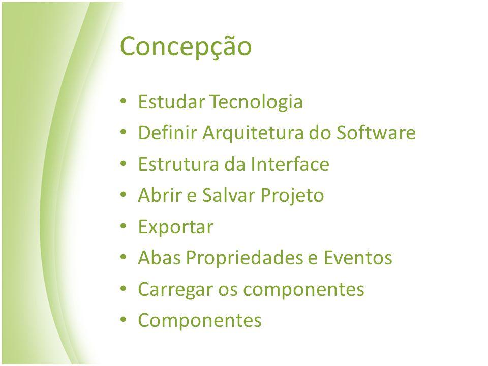 Concepção Estudar Tecnologia Definir Arquitetura do Software Estrutura da Interface Abrir e Salvar Projeto Exportar Abas Propriedades e Eventos Carreg