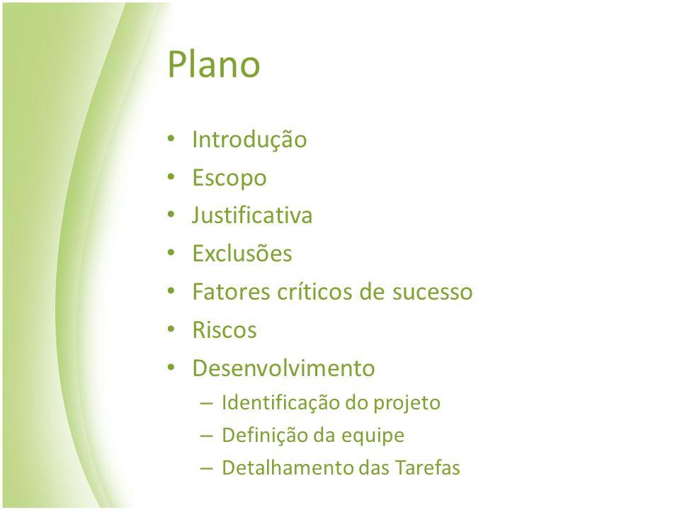 Plano Introdução Escopo Justificativa Exclusões Fatores críticos de sucesso Riscos Desenvolvimento – Identificação do projeto – Definição da equipe –