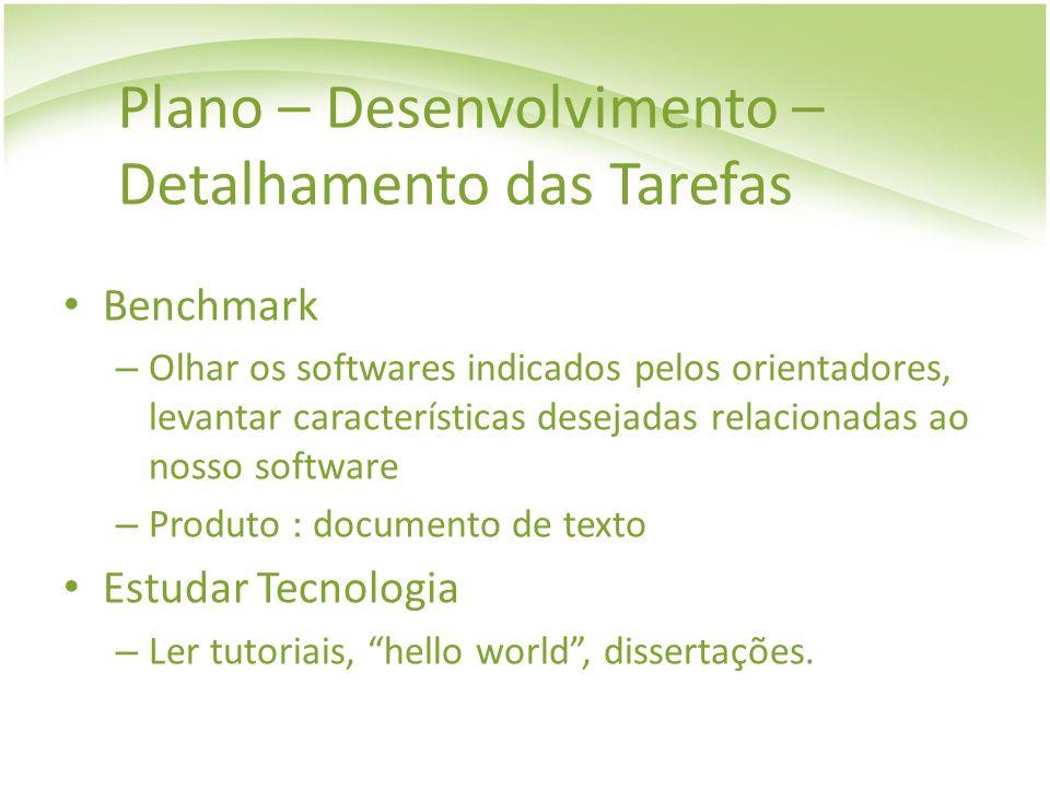 Plano – Desenvolvimento – Detalhamento das Tarefas Benchmark – Olhar os softwares indicados pelos orientadores, levantar características desejadas rel