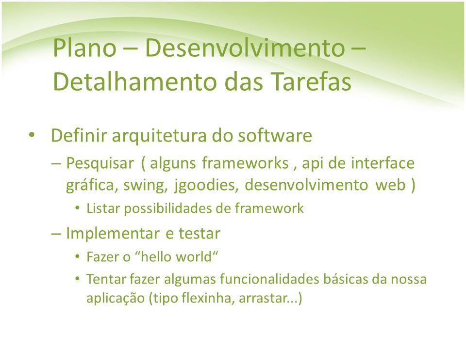 Plano – Desenvolvimento – Detalhamento das Tarefas Definir arquitetura do software – Pesquisar ( alguns frameworks, api de interface gráfica, swing, j