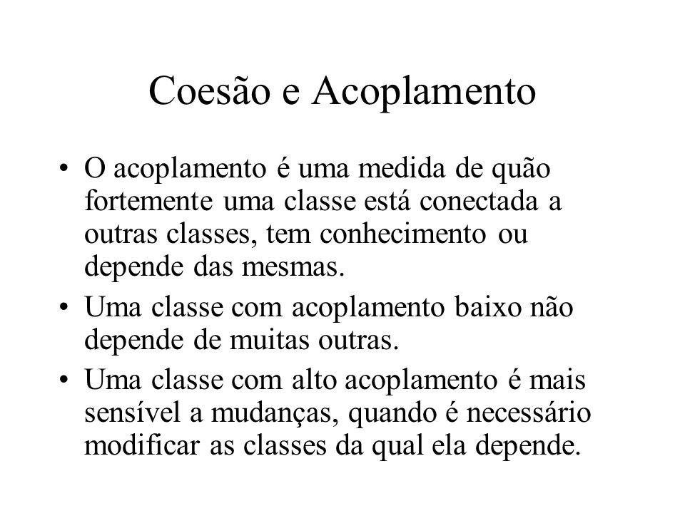 Coesão e Acoplamento O acoplamento é uma medida de quão fortemente uma classe está conectada a outras classes, tem conhecimento ou depende das mesmas.
