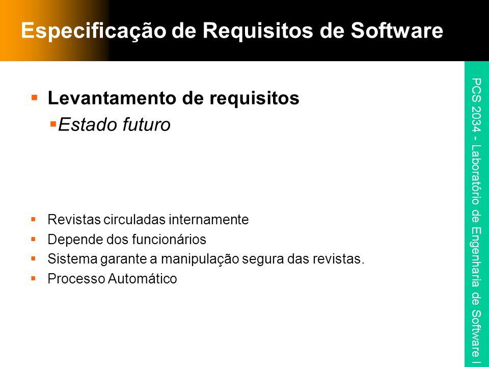 PCS 2034 - Laboratório de Engenharia de Software I Especificação de Requisitos de Software Levantamento de requisitos Estado futuro Revistas circulada