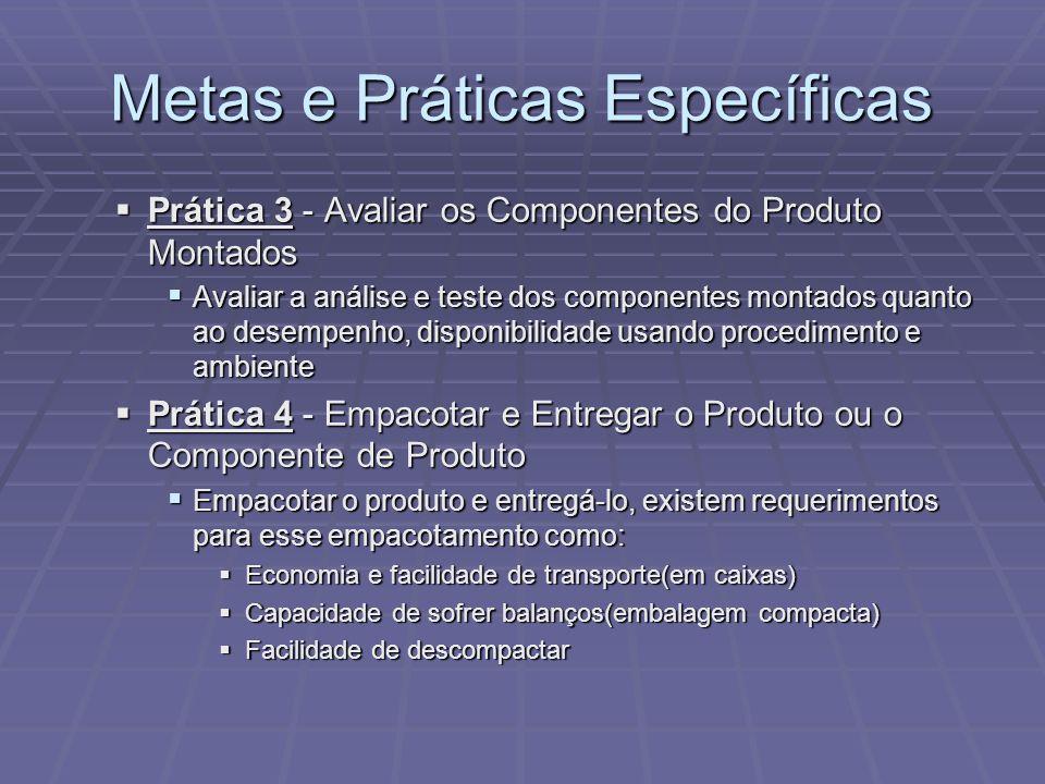Metas e Práticas Específicas Prática 3 - Avaliar os Componentes do Produto Montados Prática 3 - Avaliar os Componentes do Produto Montados Avaliar a a