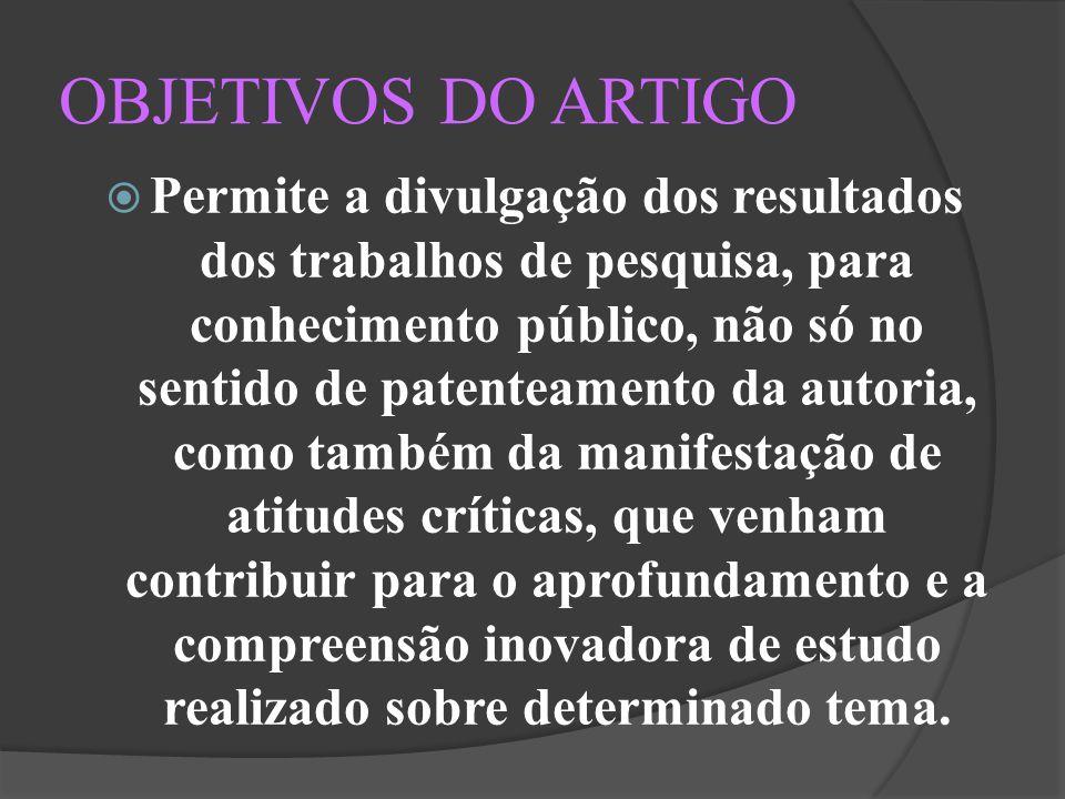 REFERÊNCIAS ARTIGO CIENTÍFICO DEFINIÇÃO.