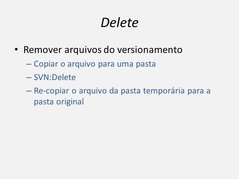 Delete Remover arquivos do versionamento – Copiar o arquivo para uma pasta – SVN:Delete – Re-copiar o arquivo da pasta temporária para a pasta origina