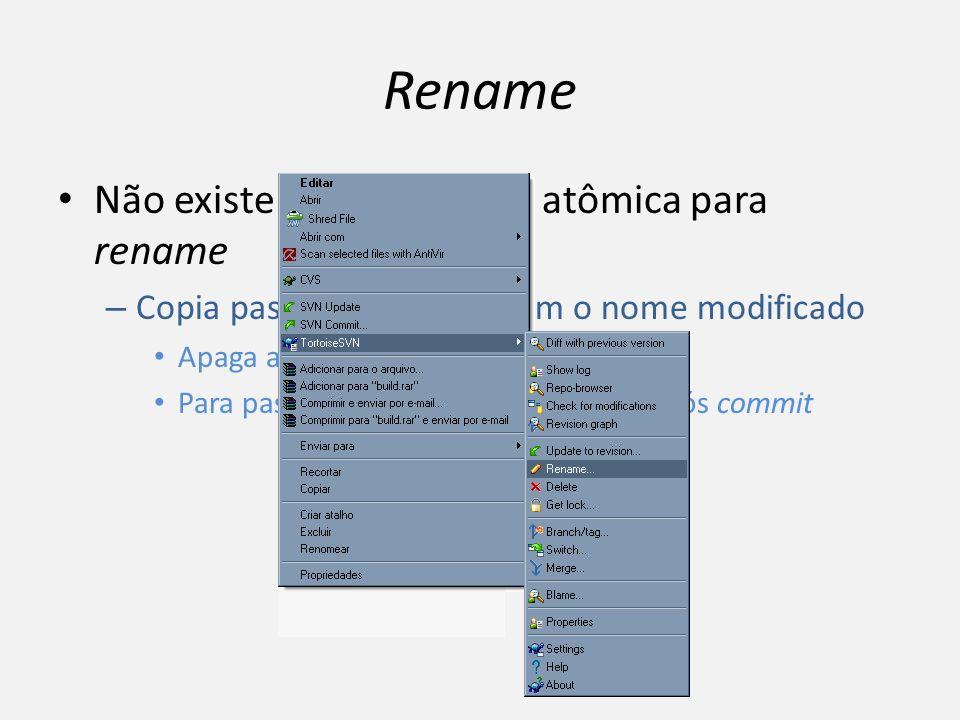 Rename Não existe uma operação atômica para rename – Copia pastas e arquivos com o nome modificado Apaga arquivos com nome antigo Para pastas, só dele