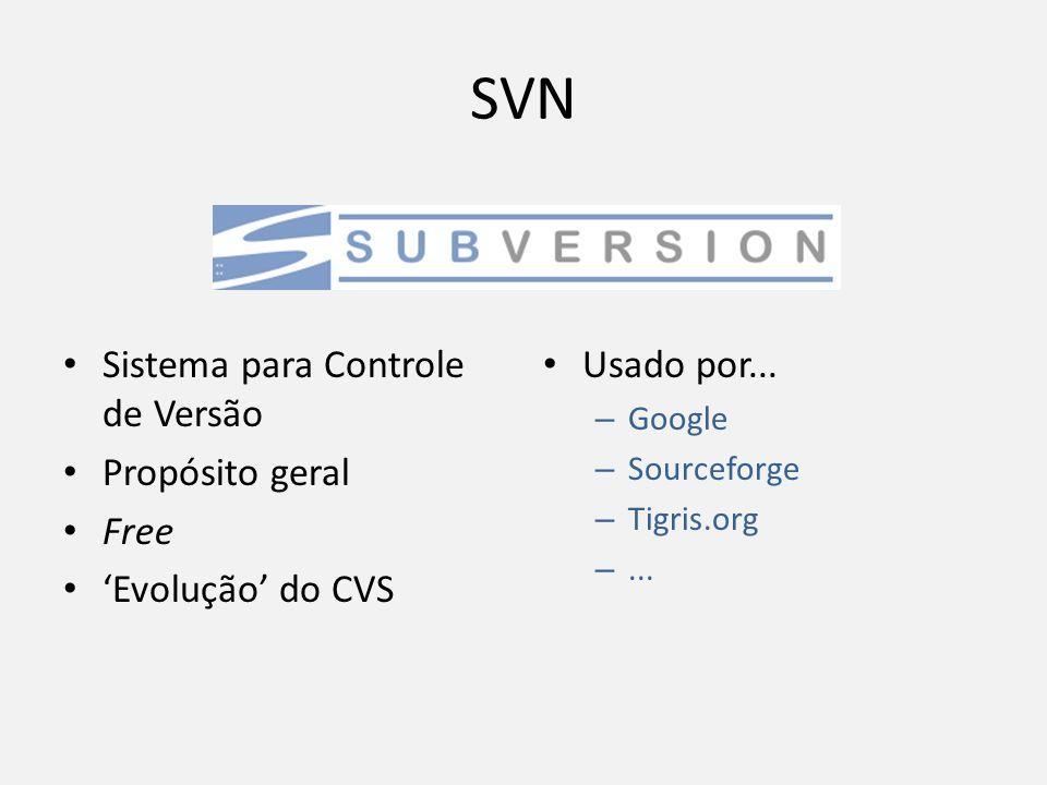 SVN Sistema para Controle de Versão Propósito geral Free Evolução do CVS Usado por... – Google – Sourceforge – Tigris.org –...