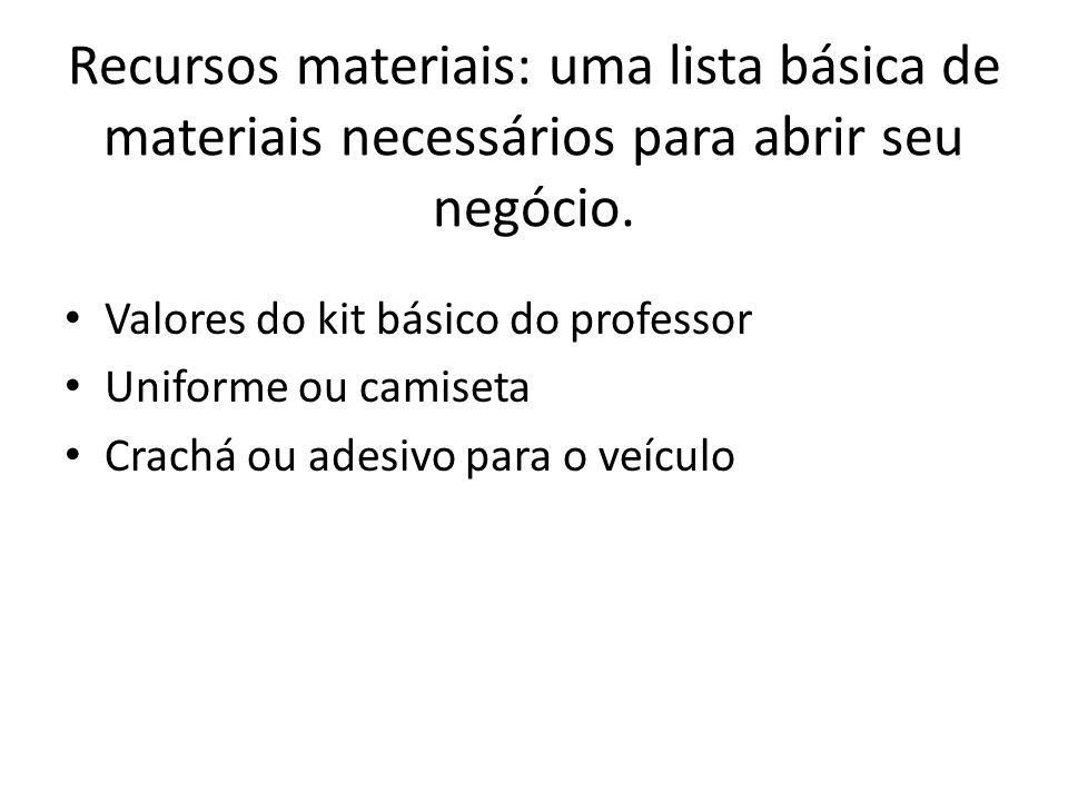 Recursos materiais: uma lista básica de materiais necessários para abrir seu negócio. Valores do kit básico do professor Uniforme ou camiseta Crachá o