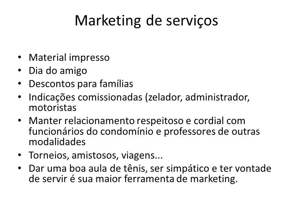 Marketing de serviços Material impresso Dia do amigo Descontos para famílias Indicações comissionadas (zelador, administrador, motoristas Manter relac