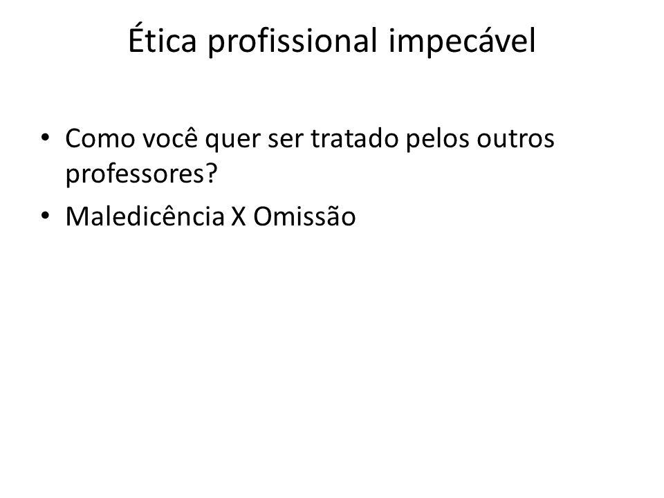 Ética profissional impecável Como você quer ser tratado pelos outros professores? Maledicência X Omissão