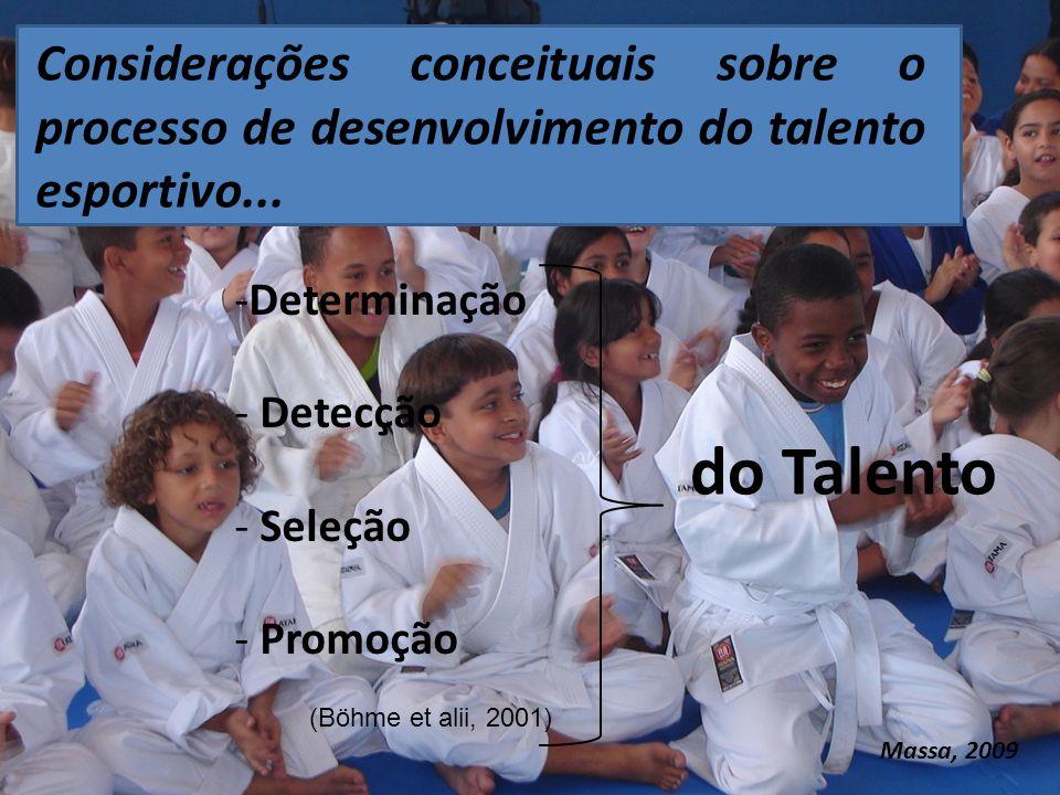 -Determinação - Detecção - Seleção - Promoção do Talento (Böhme et alii, 2001) Considerações conceituais sobre o processo de desenvolvimento do talento esportivo...