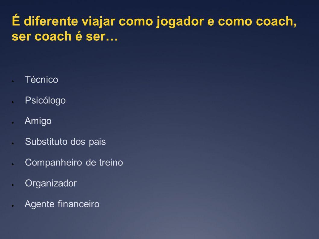 É diferente viajar como jogador e como coach, ser coach é ser… Técnico Psicólogo Amigo Substituto dos pais Companheiro de treino Organizador Agente fi
