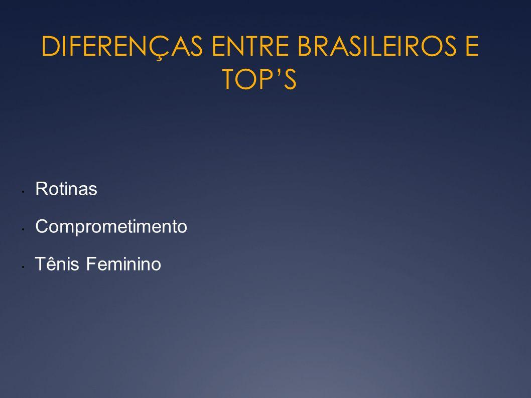 DIFERENÇAS ENTRE BRASILEIROS E TOPS Rotinas Comprometimento Tênis Feminino