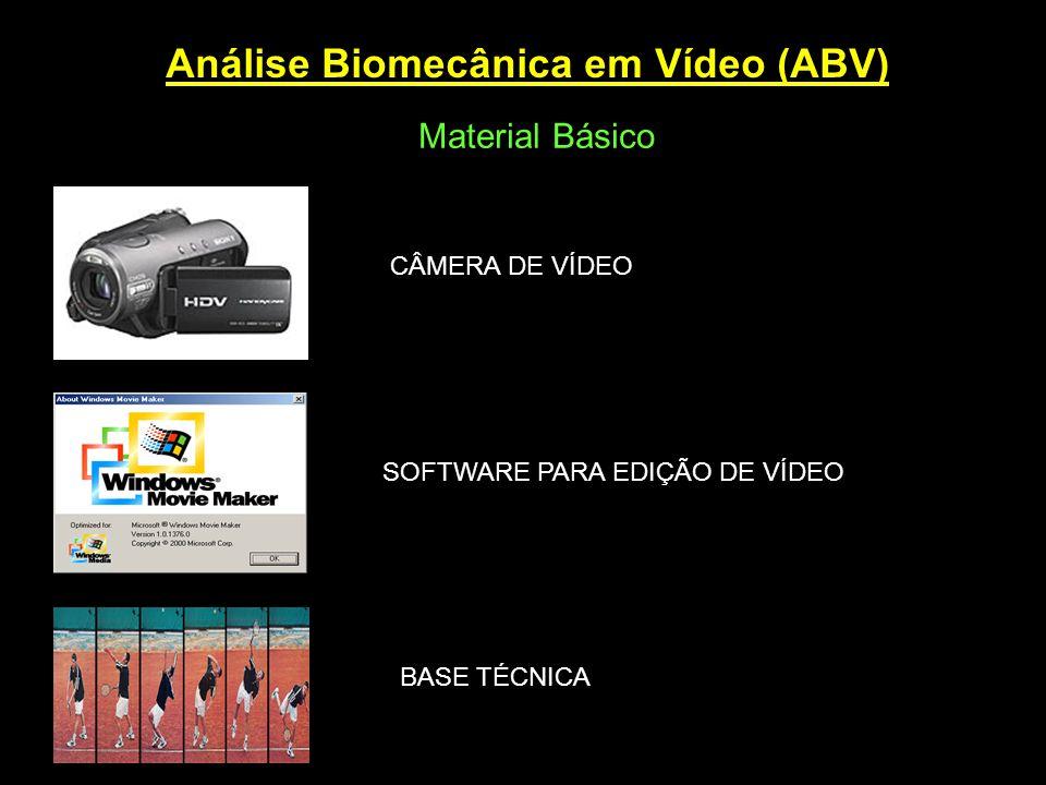 Análise Biomecânica em Vídeo (ABV) Material Básico CÂMERA DE VÍDEO BASE TÉCNICA SOFTWARE PARA EDIÇÃO DE VÍDEO