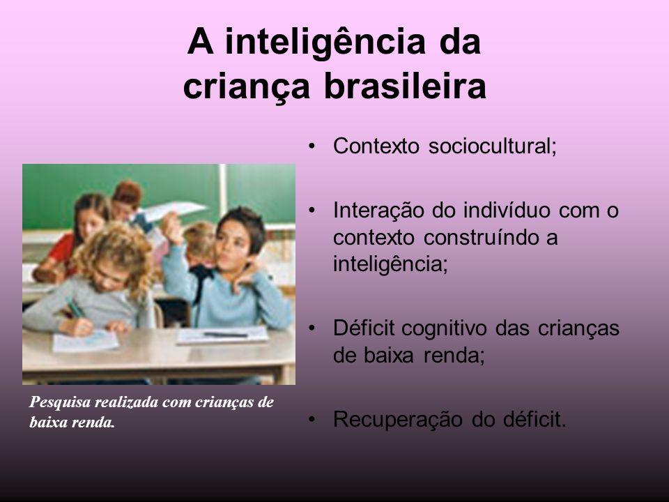 A inteligência da criança brasileira Contexto sociocultural; Interação do indivíduo com o contexto construíndo a inteligência; Déficit cognitivo das c