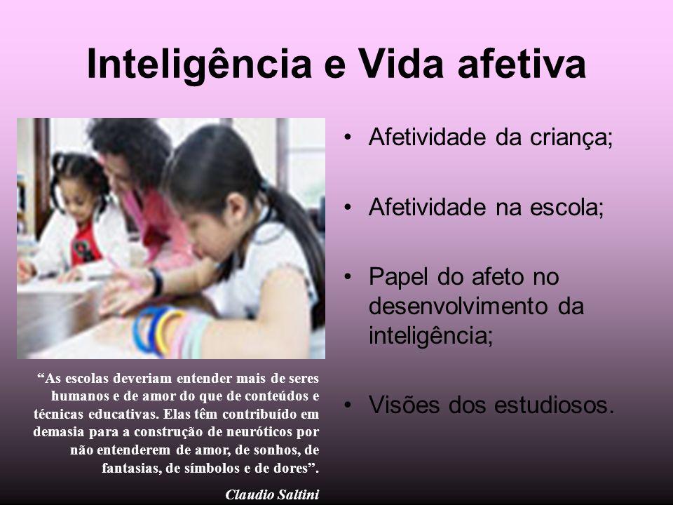 Inteligência e Vida afetiva Afetividade da criança; Afetividade na escola; Papel do afeto no desenvolvimento da inteligência; Visões dos estudiosos. A
