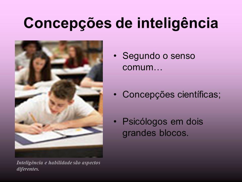 Concepções de inteligência Segundo o senso comum… Concepções científicas; Psicólogos em dois grandes blocos. Inteligência e habilidade são aspectos di