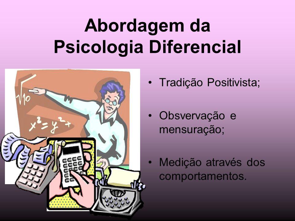 Abordagem da Psicologia Diferencial Tradição Positivista; Obsvervação e mensuração; Medição através dos comportamentos.