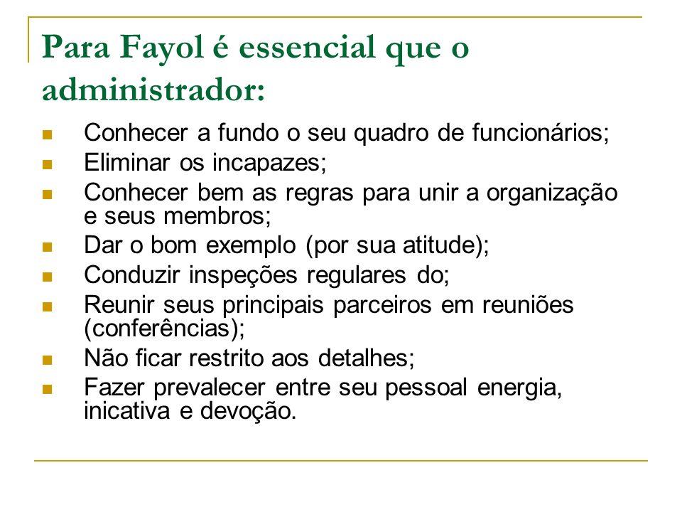 Para Fayol é essencial que o administrador: Conhecer a fundo o seu quadro de funcionários; Eliminar os incapazes; Conhecer bem as regras para unir a o