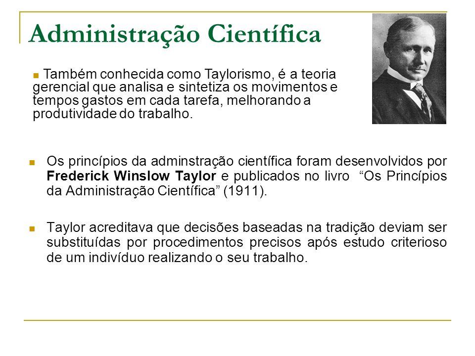 Administração Científica Os princípios da adminstração científica foram desenvolvidos por Frederick Winslow Taylor e publicados no livro Os Princípios