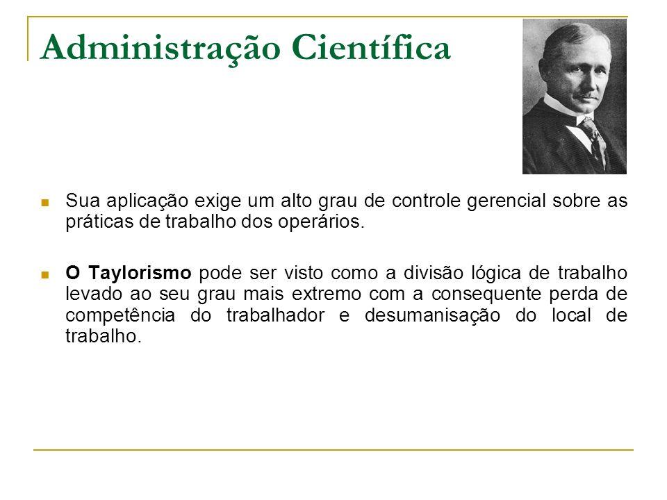 Administração Científica Sua aplicação exige um alto grau de controle gerencial sobre as práticas de trabalho dos operários. O Taylorismo pode ser vis
