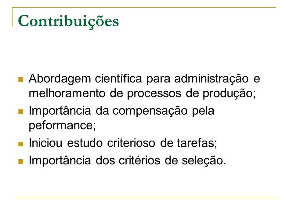 Contribuições Abordagem científica para administração e melhoramento de processos de produção; Importância da compensação pela peformance; Iniciou est