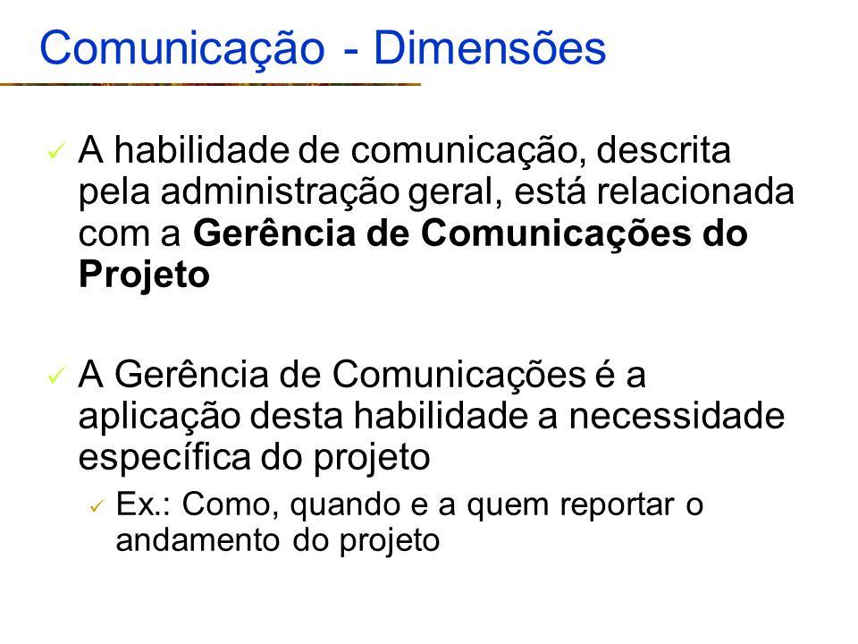 Comunicação - Dimensões A habilidade de comunicação, descrita pela administração geral, está relacionada com a Gerência de Comunicações do Projeto A G