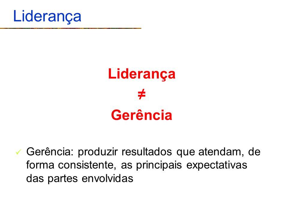 Liderança Gerência Gerência: produzir resultados que atendam, de forma consistente, as principais expectativas das partes envolvidas