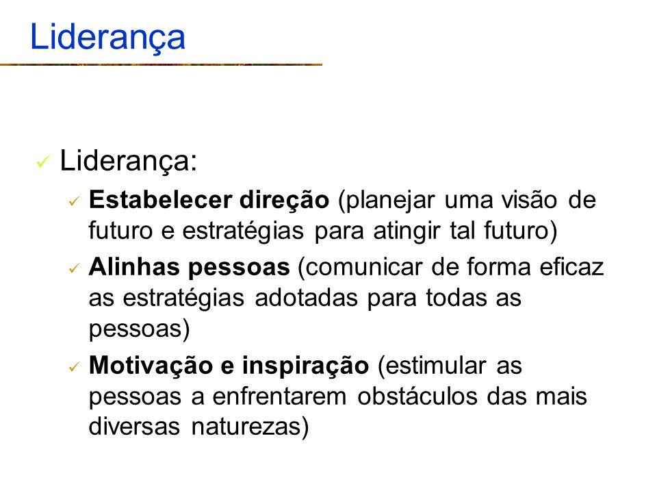 Liderança Liderança: Estabelecer direção (planejar uma visão de futuro e estratégias para atingir tal futuro) Alinhas pessoas (comunicar de forma efic