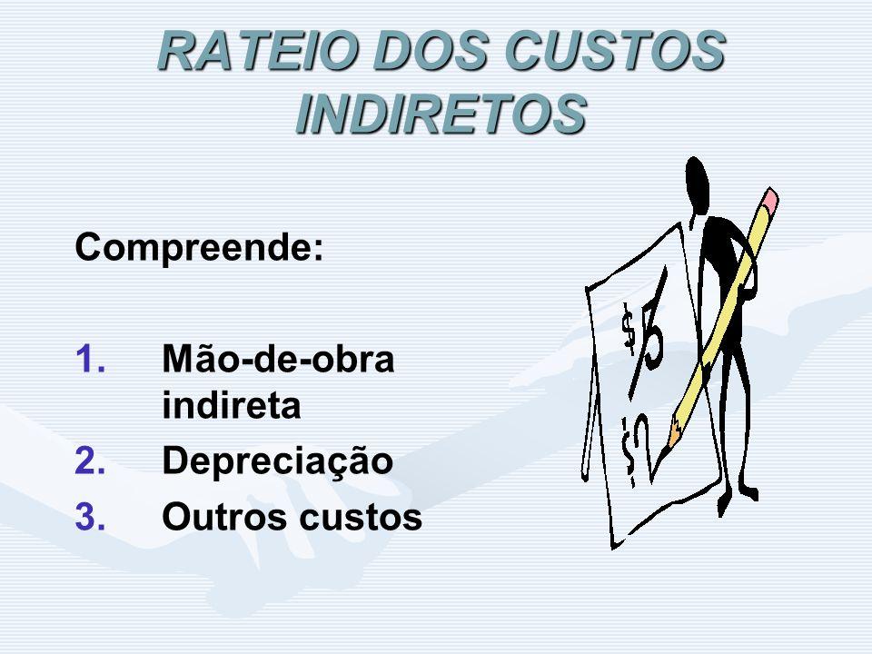 RATEIO DOS CUSTOS INDIRETOS Compreende: 1. 1.Mão-de-obra indireta 2. 2.Depreciação 3. 3.Outros custos