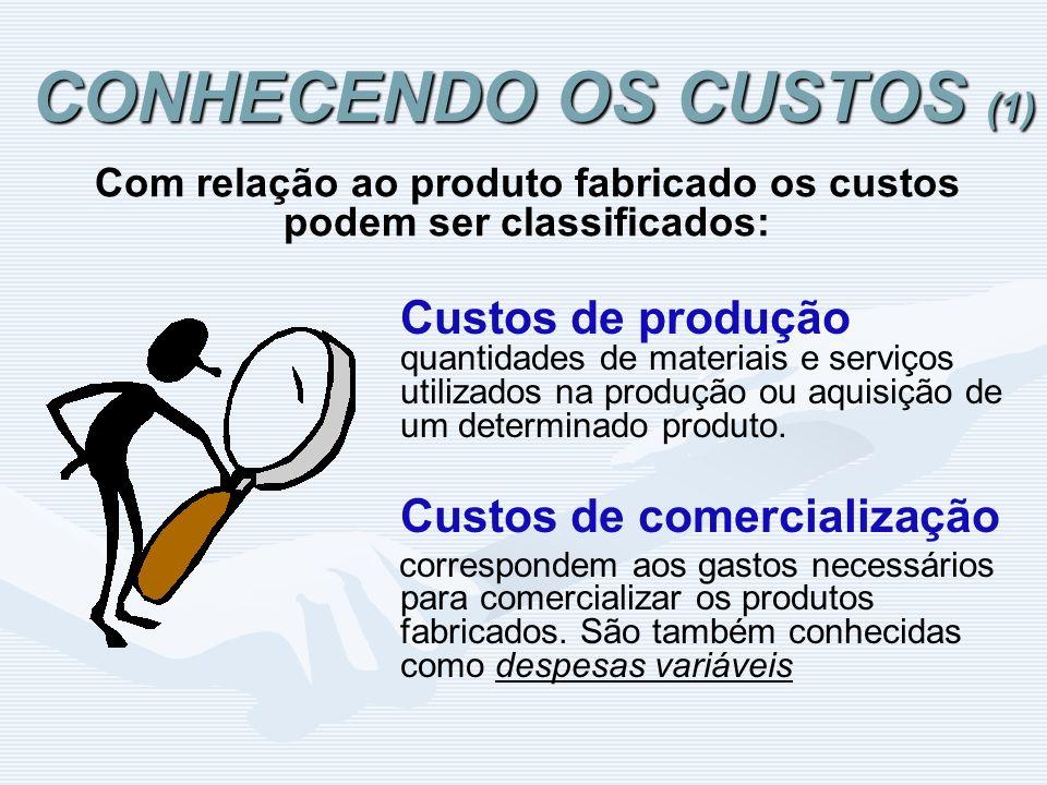 CONHECENDO OS CUSTOS (1) Custos de produção quantidades de materiais e serviços utilizados na produção ou aquisição de um determinado produto. Custos