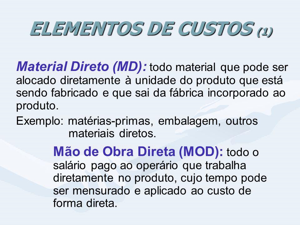 ELEMENTOS DE CUSTOS (1) Material Direto (MD): todo material que pode ser alocado diretamente à unidade do produto que está sendo fabricado e que sai d