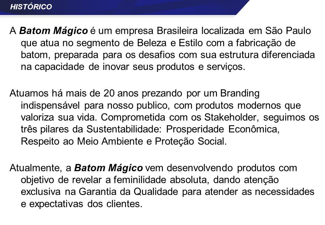 HISTÓRICO A Batom Mágico é um empresa Brasileira localizada em São Paulo que atua no segmento de Beleza e Estilo com a fabricação de batom, preparada