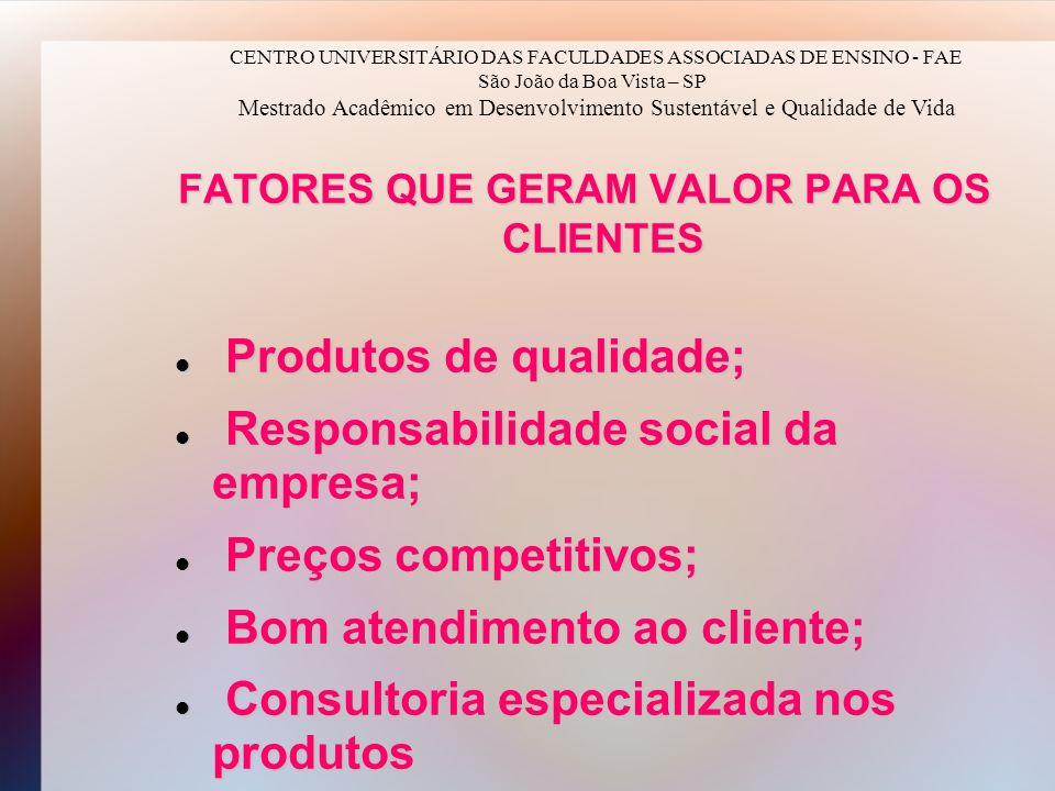 FATORES QUE GERAM VALOR PARA OS CLIENTES Produtos de qualidade; Produtos de qualidade; Responsabilidade social da empresa; Responsabilidade social da