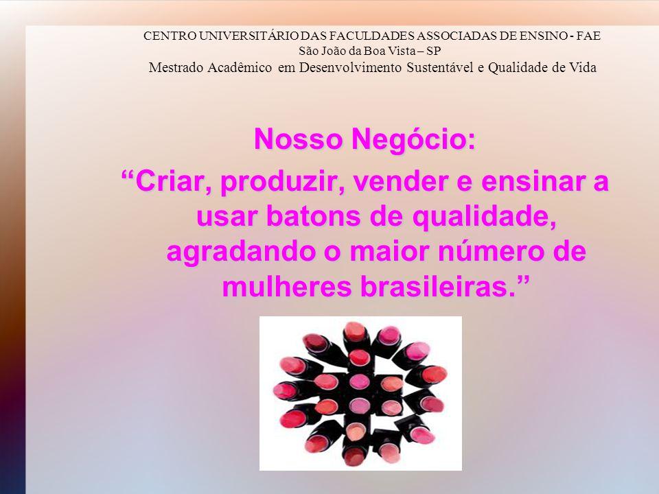 Nosso Negócio: Criar, produzir, vender e ensinar a usar batons de qualidade, agradando o maior número de mulheres brasileiras. CENTRO UNIVERSITÁRIO DA