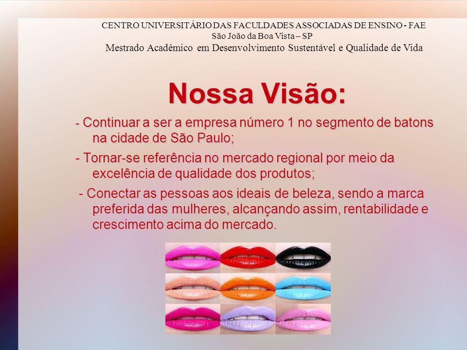 Nossa Visão: - Continuar a ser a empresa número 1 no segmento de batons na cidade de São Paulo; - Tornar-se referência no mercado regional por meio da