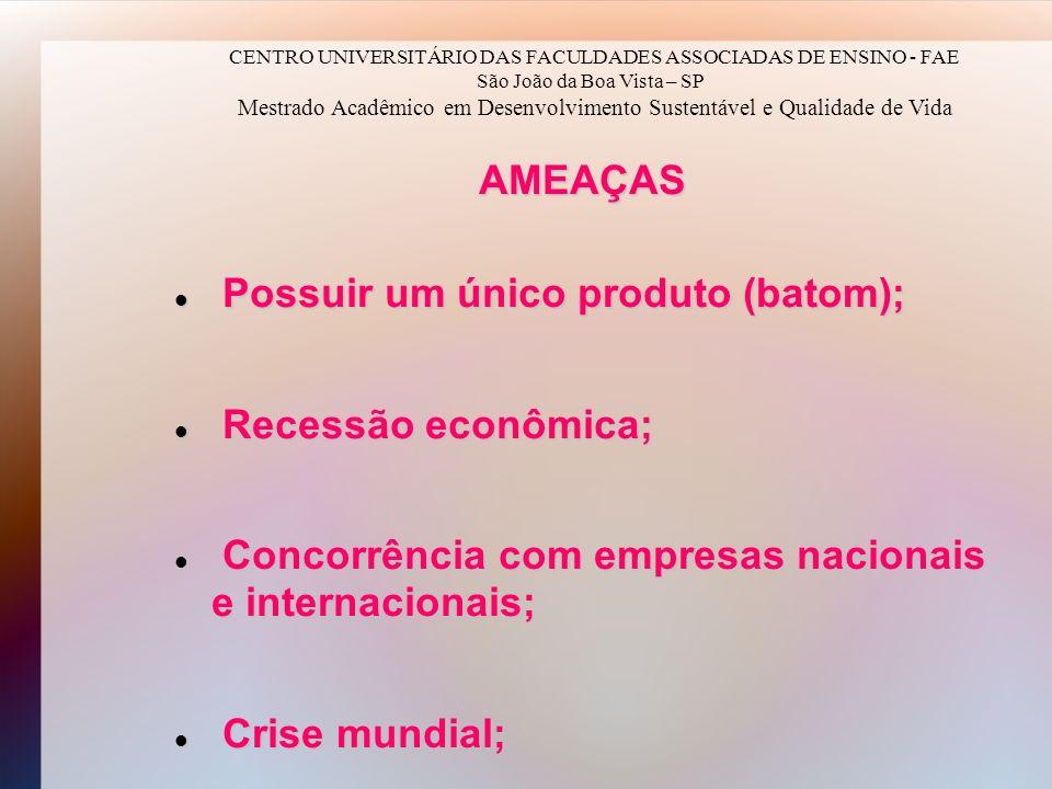 AMEAÇAS Possuir um único produto (batom); Possuir um único produto (batom); Recessão econômica; Recessão econômica; Concorrência com empresas nacionai