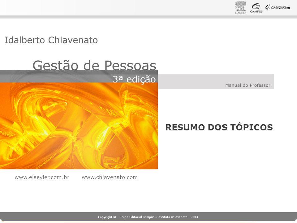 Copyright © - Grupo Editorial Campus – Instituto Chiavenato - 2004 Objetivos da Gestão de Pessoas 1.