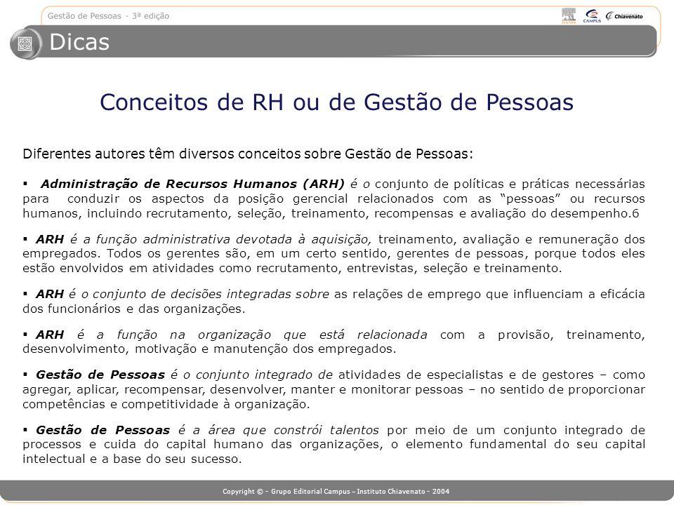 Copyright © - Grupo Editorial Campus – Instituto Chiavenato - 2004 Diferentes autores têm diversos conceitos sobre Gestão de Pessoas: Administração de