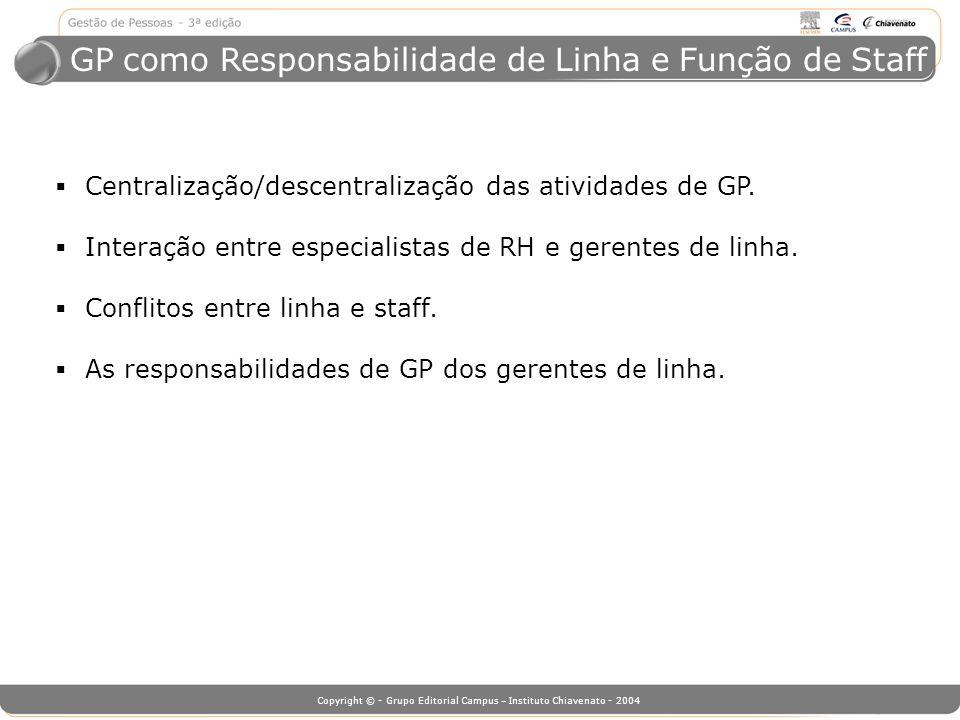 Copyright © - Grupo Editorial Campus – Instituto Chiavenato - 2004 GP como Responsabilidade de Linha e Função de Staff Centralização/descentralização