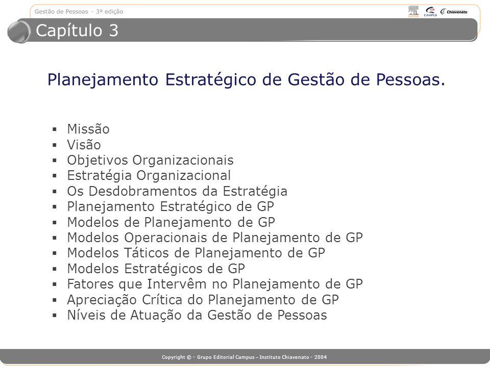 Copyright © - Grupo Editorial Campus – Instituto Chiavenato - 2004 Planejamento Estratégico de Gestão de Pessoas. Missão Visão Objetivos Organizaciona