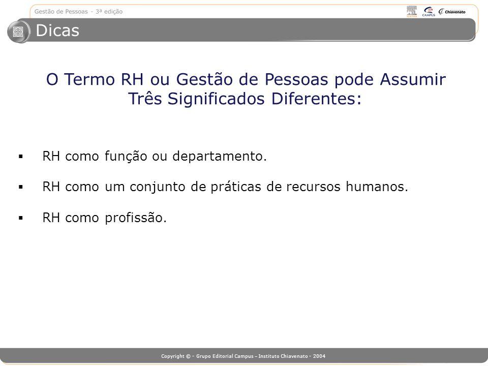Copyright © - Grupo Editorial Campus – Instituto Chiavenato - 2004 Dicas O Termo RH ou Gestão de Pessoas pode Assumir Três Significados Diferentes: RH