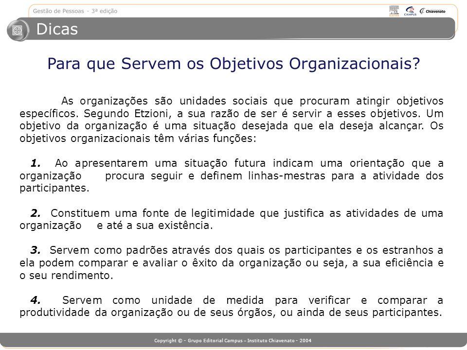 Copyright © - Grupo Editorial Campus – Instituto Chiavenato - 2004 As organizações são unidades sociais que procuram atingir objetivos específicos. Se